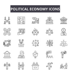 Political economy line icons signs set vector