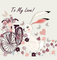 postcard with cute rabbit bicycle and field vector image