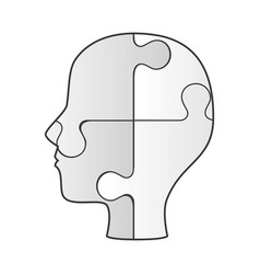profile human with puzzle game pieces isolated vector image