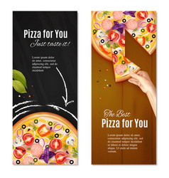 relialistic pizza vertical banners vector image