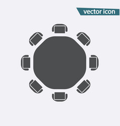 Round table discussion flat icon isolated vector