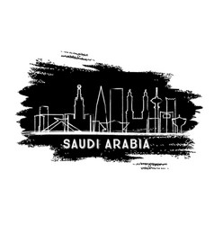 saudi arabia city skyline silhouette hand drawn vector image