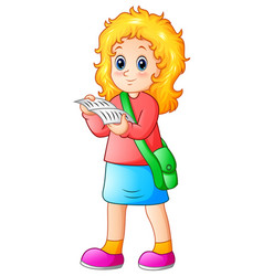 schoolgirl cartoon reading a textbook vector image