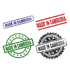 scratched textured made in cambodia seal stamps vector image