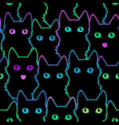 seamless pattern cute cat silhouettes vector image
