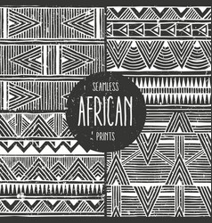 Set of 4 seamless ethnic patterns monochrome vector
