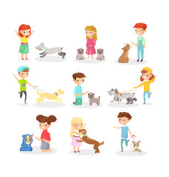 set of children playing with vector image