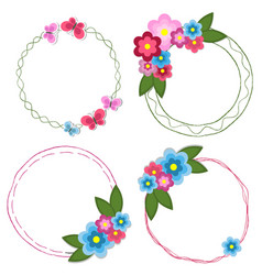 set round doodle hand drawn frames with flowers vector image