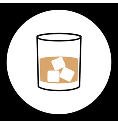 simple whisky glass with ice cubes icon eps10 vector image