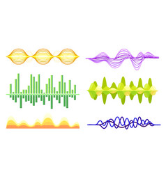 Sound frequency waves set audio equalizer vector