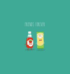 spaghetti and ketchup are friends graphics vector image