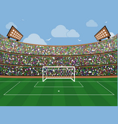 Sport stadium with soccer goal net green grass vector