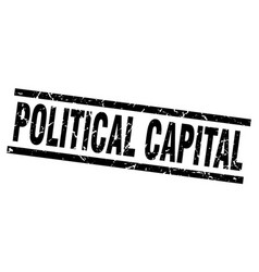 Square grunge black political capital stamp vector