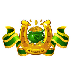 st patricks day banner with green pot vector image