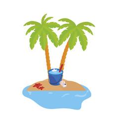 Summer coastline scene with palms and water bucket vector