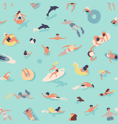 Summer seamless pattern with people swimming vector