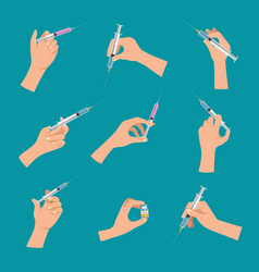 syringe in hand covid19 vaccination doctor make vector image