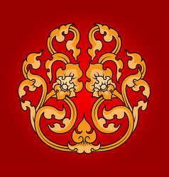 Thai art flora pattern on a red vector