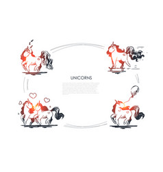 unicorns - couple in love holding airballon vector image