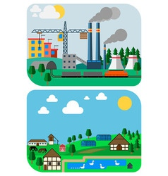 Urban and Country Landscapes Flat vector image