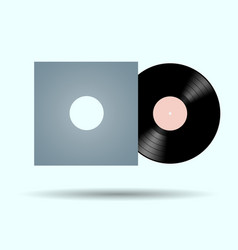 vinyl record with packaging on isolated flat vector image