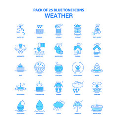 Weather blue tone icon pack - 25 icon sets vector
