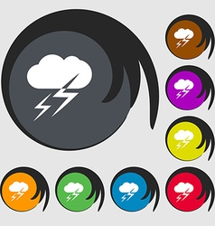Weather icon sign symbols on eight colored buttons vector