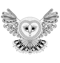Coloring page with Owl zentangle hand drawing vector image vector image