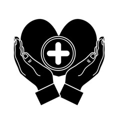 Contour hands with heart medicine symbol to help vector