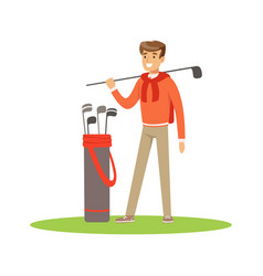 golf player in a blue pullover standing with a bag vector image vector image