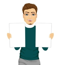 young man holding two blank papers vector image vector image