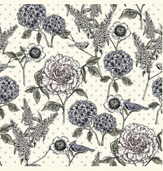floral seamless pattern trendy hand drawn vector image