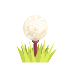 golf ball on a tee tee in green grass golf sport vector image vector image