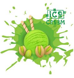 ice cream pistachio ball dessert choose your taste vector image