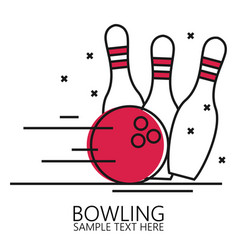 linear style bowling ball and pins vector image