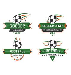sport logotype football academy indoor cup soccer vector image