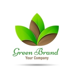 Abstract green leaf logo Creative color vector image