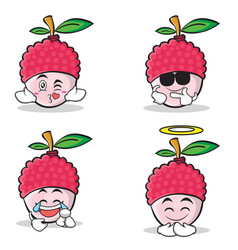 collection set of lychee cartoon character style vector image