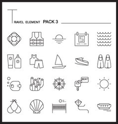 Travel Element Line Icon Set 3Beach and Sea vector image vector image