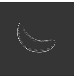 Banana Drawn in chalk icon vector image