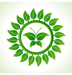Eco butterfly inside the leaf background vector image vector image
