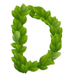 Letter D of green leaves alphabet vector image