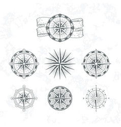 nautical compass marine wind rose for maps vector image