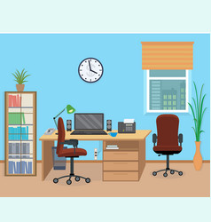 office room interior with furniture and equipment vector image vector image