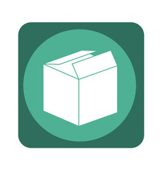 Square emblem with open packing box vector