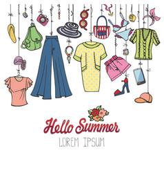 summer fashionwoman colorful vacation wear vector image vector image
