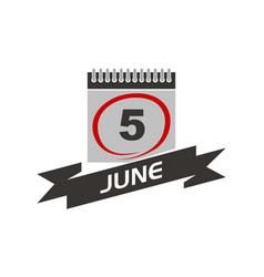 5 june calendar with ribbon vector
