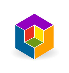 abstract colorful cube icon vector image