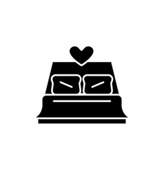 bed newlyweds black icon sign on isolated vector image