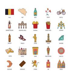 belgium icons set cartoon style vector image